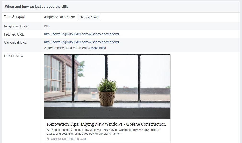 newburyportbuilder.com facebook debugger